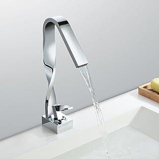 HOMELODY Cromo Cascada Grifo de lavabo Diseño Grifo de Baño Monomando de lavabo Grifería lavabo Alto caño Agua fría y cliente