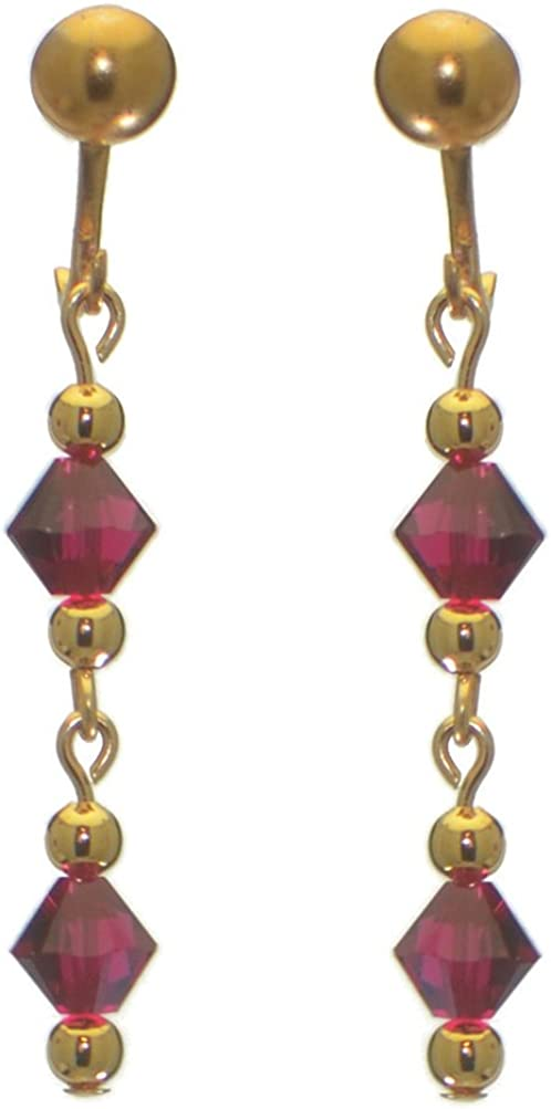 ADONA gold plated swarovski elements ruby red crystal drop clip on earrings
