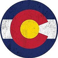 ディストレストコロラド州旗 カーマグネット バンパー デカール 5 1/2インチ