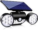 Upgraded Solar Lights Outdoor, Super Bright Motion Sensor Security Lights Solar Wall Lights with Dual Head Spotlights Waterproof 360° Adjustable Solar Motion Lights Outdoor for Garden Garage (1 Pack)