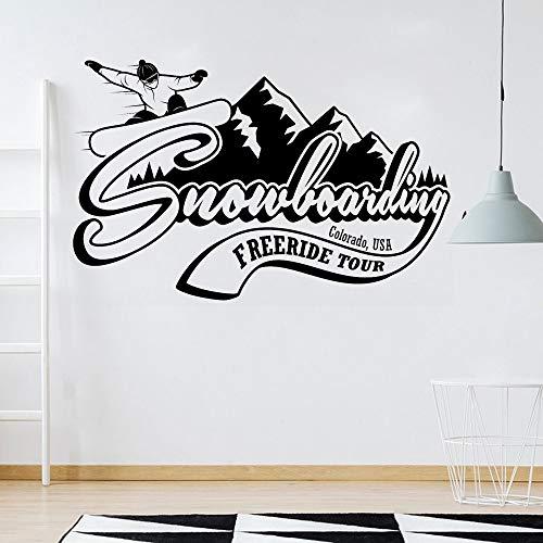 Rfokun Vinyl Wandtattoo Snowboard Mountain Range Colorado Extreme Wintersport Wandaufkleber Wohnzimmer Wohnaccessoires Zubehör 65x42cm