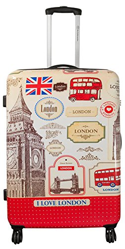 Polycarbonaat ABS harde schaal koffer trolley reiskoffer reistrolley handbagage boardcase beautycase XL L M S, I Love London (meerkleurig) - unknown