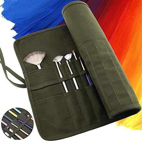 ARPDJK Pinseltasche, 22 Slots Segeltuch Pencil Case für Aquarell Ölziehstift Pinsel, Make Up Pinsel, Tragbare Künstler Malen Aufbewahrung Tasche, Armee Grün