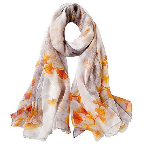 STORY OF SHANGHAI Bufanda de Seda Mujer 100% Seda Estampado Floral Colorido Gran Bufanda Mantón Ultraligero Transpirable Elegante,Hoja de Arce Amarillo,175 * 100 cm
