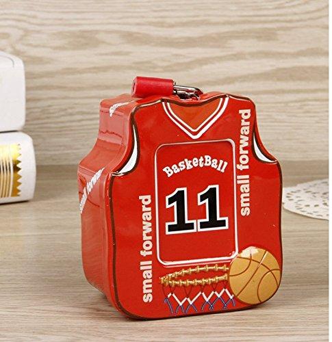 Abenily Münzen-Spardose-Geschenkbox Basketball Shirt Sparschwein Hochwertiger Zinn Aufbewahrungsbox mit Schloss (Rot)