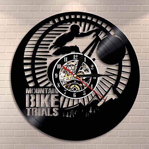 ZZLLL Mountain Bike Trial Wall Clock Cyclist Bike Modern Home Decor Art Mountain Bike Vinyl Record Wall Clock Retro Biker Gift