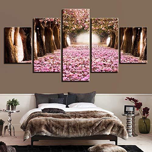 Canvas schilderij decoratie, Pictures Home Decor HD Prints 5 Pieces Cherry Blossoms Schilderijen roze bloemblaadje Boom Plaat Living Room Wall Art (Color : No Frame, Size (Inch) : Size)