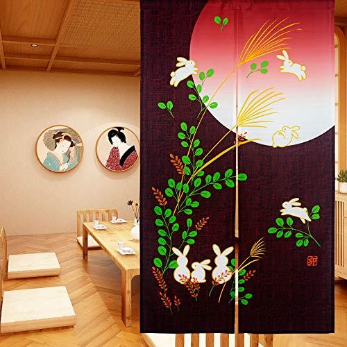 LIGICKY Japanese Doorway Curtain Noren Cute Rabbit Under Moon Decoration Red 33x59inch