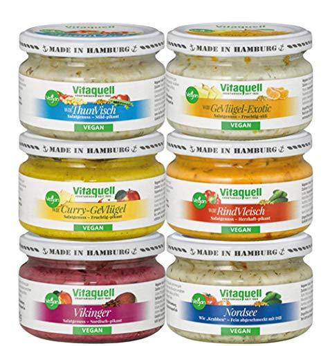 Vitaquell Vegane Salatkiste, 6 x 180 g Salate rein pflanzlich To Go