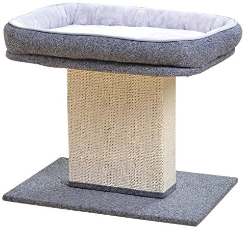 Catry Cat Bed with Scratching Post - Minimalist Style Design of Cat Tree with Cozy Cat Bed and...
