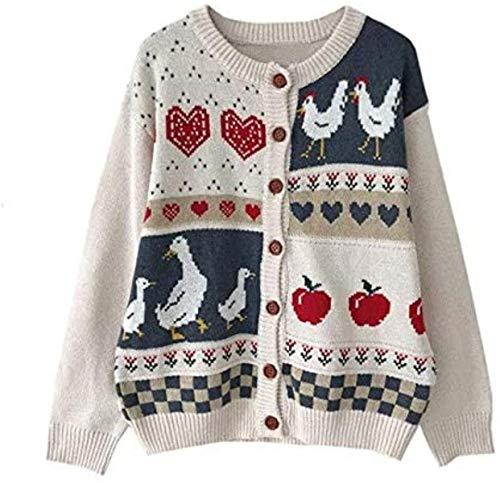 Retro Jacquard Knit Cardigan Suéter Abrigo Mujeres Suelto Casual Chaqueta de punto Tops