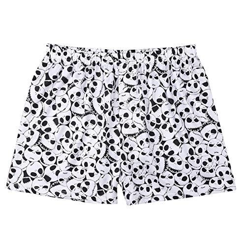 TiaoBug Herren Männer Satin Boxershorts mit Rentier Geweih Muster Weinachten Kostüm Unterhosen kurz Shorts sexy Unterwäsche M-XXL Weiß XL(Taille 88cm)