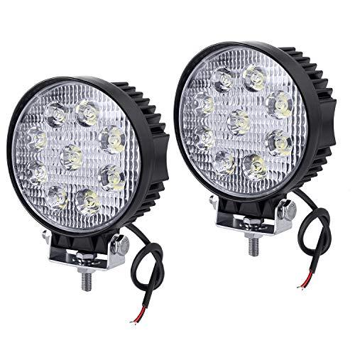 HENGMEI 27W LED Arbeitsscheinwerfer Reflektor Scheinwerfer Arbeitslicht LED Zusatzscheinwerfer Light Flutlicht für Offroad Agrar Traktor (2X27W,Runde)
