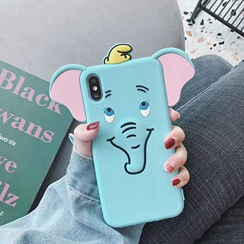 SevenPanda Cute iPhone 11 Pro Max Hülle, 3D Cartoon Elefant Geformte Weiche Silikon Kautschuk Vollschutz Stoßdichte Hülle für Mädchen Frauen Lady - Große Ohren