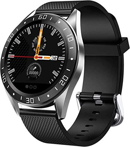 DHTOMC Hombres y mujeres 1.24 pulgadas pantalla de alta definición tiempo salud podómetro sueño multifuncional reloj deportivo desgaste diario-negro