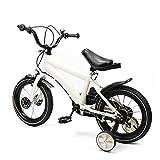 Berkalash - Bicicleta infantil, 14 pulgadas, unisex, con freno de contrapedal, ruedas de apoyo, color Blanco, tamaño 14 inches