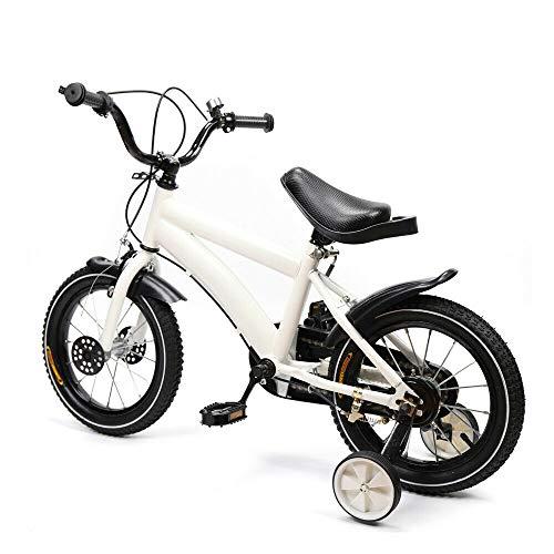 Wangkangyi 14 Zoll Kinderfahrrad Jungen Mädchen mit Stützräder, Fahrrad für Kinder ab 3 Jahre 82cm x43cm x20cm (Weiß)