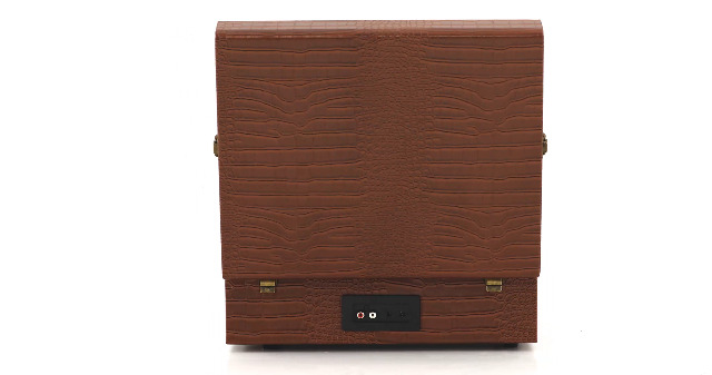 Crosley CR8017A-BR Voyager Vintage Portable Turntable with Bluetooth Receiver and Built-in Speakers, Brown