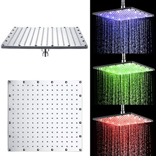 Soffione per Doccia Quadrato a Pioggia con 12 LED, con Controllo della Temperatura, Cambia in 3 colori, Flusso potente, in ABS Cromato (12 Pollici, Blu&Verde+Rosso)