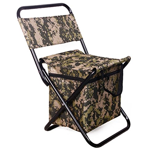 Swarokaren Camping Cooler Chair Outing Fishing Chair with Cooler Bag Pack Camo