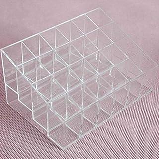 Majoxin 24 Grid Lipstick Holder Plastic Cosmetic Organizer Lipsticks Display Rack Portable Makeup Storage Box