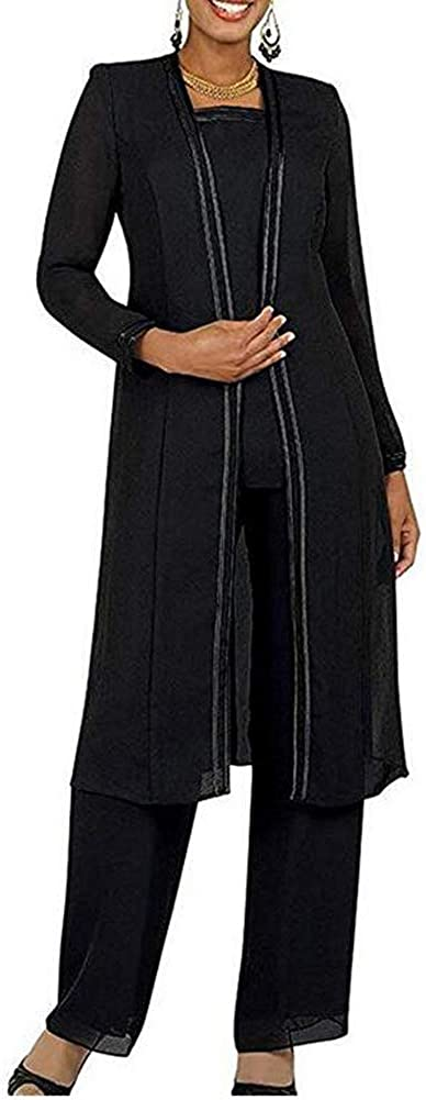 Women's 3 PC Chiffon Pants Suit Outfit Plus Size Dress Suit for Mother of The Bride Evening Gowns