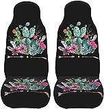 Fundas de asiento delantero de mariposa, paquete de 2 unidades, protector de asiento de vehículo, se adapta a la mayoría de los asientos de cubo, bohemio, acuarela, cactus y flechas