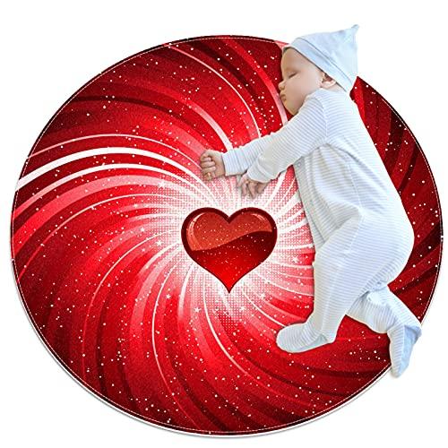 Indimization Corazón Rojo Alfombra Redonda Alfombra Redonda decoración Arte Antideslizante niños Lavables a máquin Suave Sala Estar Dormitorio de Juegos para 70x70cm