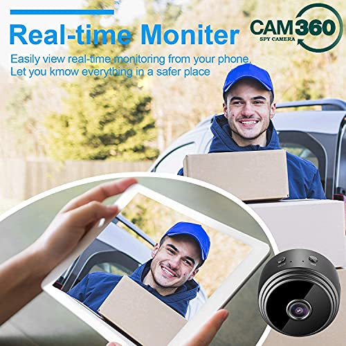 CAM 360 HD WiFi 1080P Small Mini Wireless Cloud Based Storage, Night Vision, Motion Detection Hidden Spy Camera/Cam (128 GB, 4 Channel)