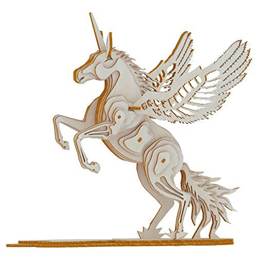 XLQ 3D Puzzles - Wooden Unicorn Toys,DIY Assembly Model Kits for Adults And Kids (41 Piece)