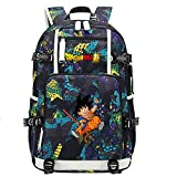 ZZGOO-LL Dragon Ball Son Goku/Vegeta IV/Torankusu Anime Cosplay Bookbag College Bag Mochila Mochila Escolar con Puerto de Carga USB-C