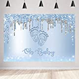 Aperturee 5x3ft Little Feet Oh Baby Backdrop Baby Shower Glitter Shimmer Bokeh Bling Blue Silver Boy Photography Background Newborn Kids Party Decorations Banner Photo Booth Studio Supplies Props