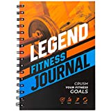 Legend Fitness Journal – Daily Workout & Exercise Log, Fitness Tracking Notebook for Women and Men, Reach Fitness & Body Building Goals, Track 130+ Workouts, A5 Sized, Spiral–Bound Laminated Cover