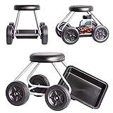 UPP sedia a rotelle Easy Work, portata fino a 130 kg, protezione per le ginocchia, altezza seduta 40 cm, per lavori di giardinaggio, casa e officina, carrello da giardino con sedile con camera d'aria