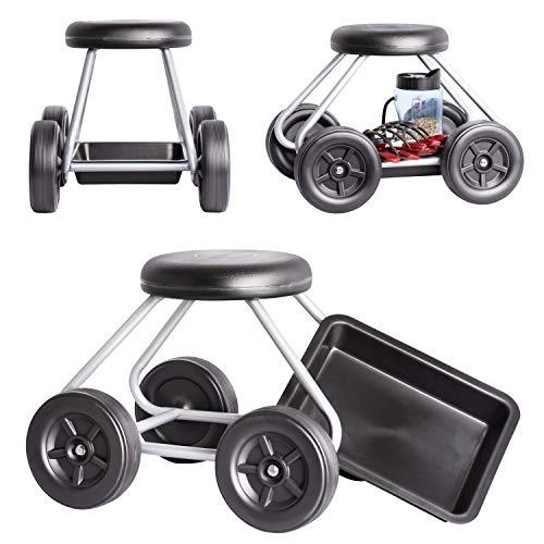 UPP Rollsitz Easy Work bis 130 Kg belastbar - knieschonend - Sitzhöhe 40cm - Rückenschonendes Arbeiten für Garten, Haushalt & Werkstatt - Gartenwagen mit Luftkammer-Sitz