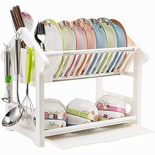 ZYL-YL Kitchen shelf Convenience Cutlery Storage Rack, Kitchen Shelf Dish Rack Cutlery Drain Rack Plastic White Two Floors Save Space Multifunction (Size : 41.5 * 25 * 37cm)