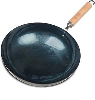 SHYOD Martelées à la main Wok, (34cm) Fer Pan Chinese Pow Wok, ronde traditionnelle Wok à fond Pow Wok