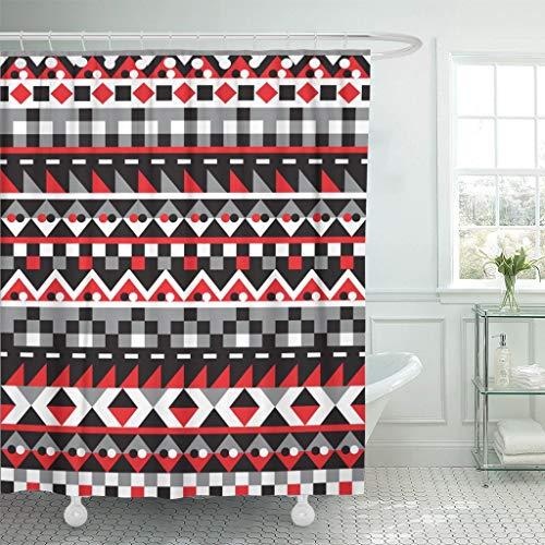 JOOCAR Design-Duschvorhang, Zickzack-Muster, bunt, geometrisches Muster, ethnisch, gestreift, traditionell, abstrakt, wasserdicht, Badezimmerdekor-Set mit Haken
