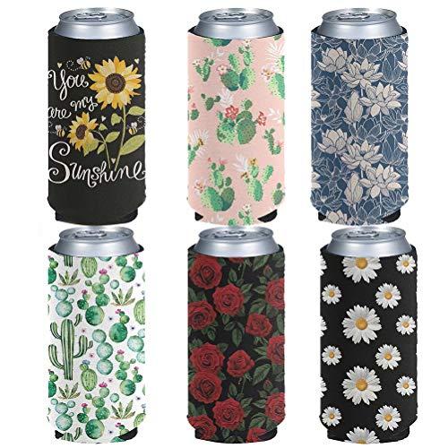 chaqlin - Juego de 6 fundas de neopreno para botellas con estampado de girasol de cactus con mangas de enfriador de bebidas gruesas para bebidas delgadas y enfriadores de bebidas