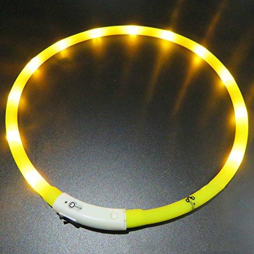 LaiXin hondenhalsband, LED, puppy, lichthalsband, verstelbaar, reflecterend, gemaakt van siliconen, waterdicht, oplaadbaar via USB, grootte klein - wit (S,35 cm), 70cm(Length), Yellow(Rechargeable)