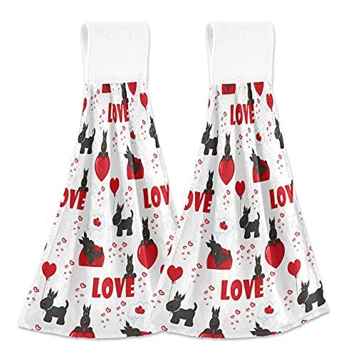 Oarencol Toalla de mano de San Valentín con forma de corazón para perro, color negro, para colgar con lazo para baño, 2 unidades
