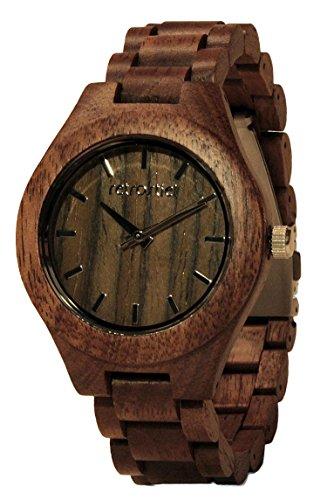 retrostiel Holz Armbanduhr 360° Nut Unisex mit japanischem Quarz-Uhrwerk