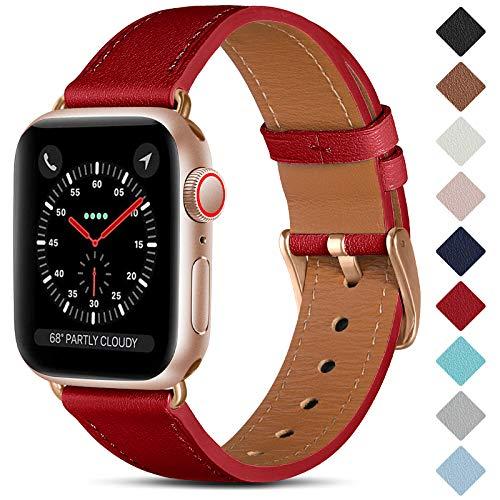 CeMiKa Correa de Cuero Compatible con Apple Watch Correa 38mm 40mm 42mm 44mm, Correas de Repuesto de Cuero Genuino Compatible con iWatch SE/Series 6 5 4 3 2 1, 42mm/44mm, Rojo/Oro Rosa