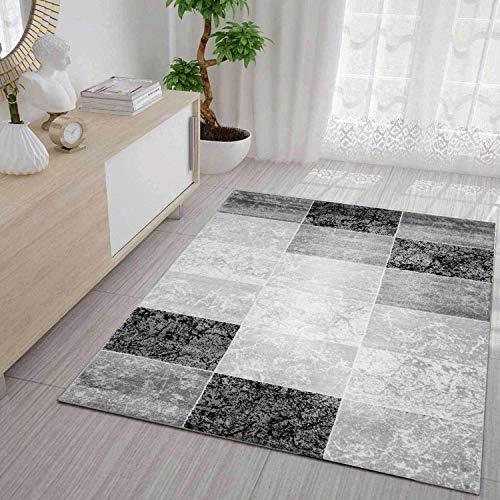 VIMODA Teppich Modern Kariert Marmor Muster Meliert in Grau Schwarz Weiss, Maße:160 x 230 cm