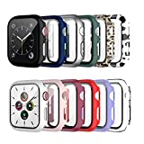 12 Pack Case with Tempered Glass Screen Protector for Apple Watch 44mm Series 6/SE/Series 5/Series 4, Cuteey Full Mate Leopord Cow Pattern PC Cover for Iwatch 44mm Accessories (12 Colors, 44mm)