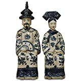 China Furniture Online Porcelain Chinese Emperor and Empress Figurines, Hand Painted Blue and White Set of 2