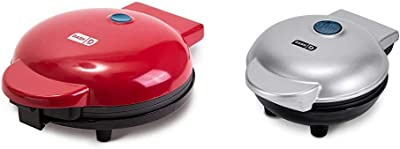 """Dash DMG8100RD 8"""" Express Electric Round Griddle + Included Recipe Book, Red & DMS001SL Mini Maker Electric Round Griddle + Included Recipe Book, Silver"""