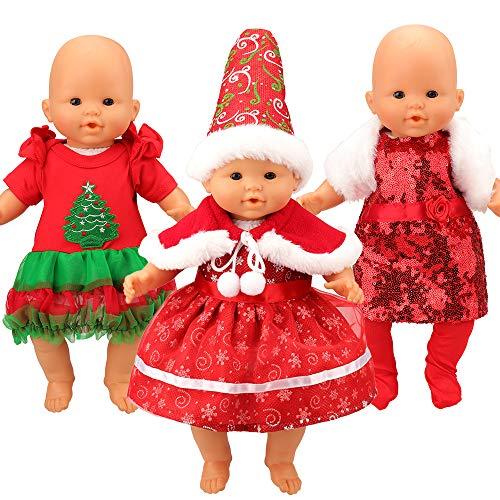Miunana 3 Set Weihnachten Kleidung Kleid Outfis Puppenkleidung für 36-46 cm Baby Puppen