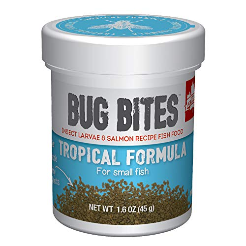Fluval Bug Bites Tropical Fish Food, Small Granules for Small to Medium Sized Fish, 1.59 oz., A6577