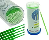 Aphrodite 100PCS Disposable Micro Brushes Swab Applicators Eyelash Extensions applicators Regular Size(2.0mm) Green Color Bendable